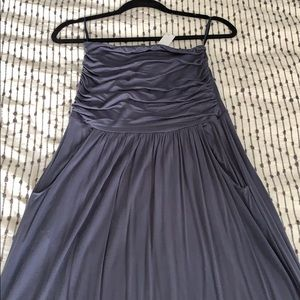 Grayish blue strapless maxi dress